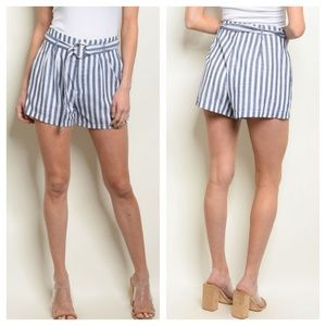 Pants - Navy striped paperbag shorts